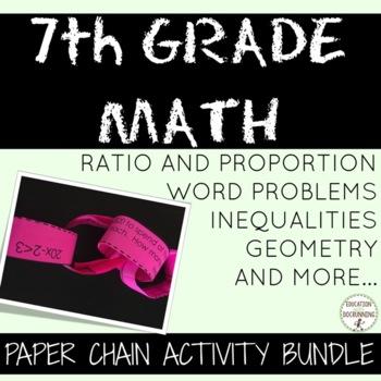 7th Grade Math Activity Paper Chains Bundled!  50 percent