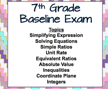 7th Grade Math Baseline Exam