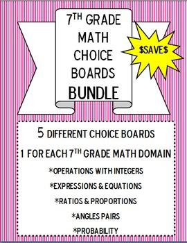 7th Grade Math Choice Boards BUNDLE