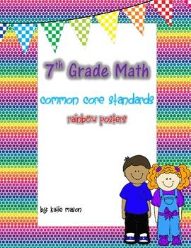 7th Grade Math Common Core Standards Posters ** Rainbow