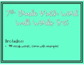 7th Grade Math Common Core Vocab Words