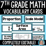 7th Grade Math Common Core Vocabulary Cards