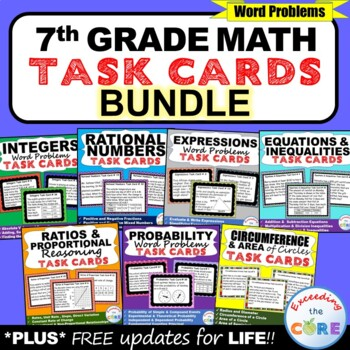7th Grade Math Common Core WORD PROBLEM TASK CARDS { BUNDL