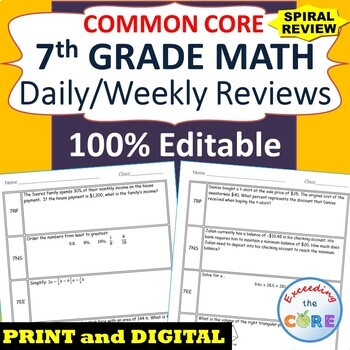 7th Grade Daily / Weekly Spiral Math Review {Common Core}