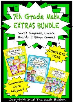 7th Grade Math EXTRAS BUNDLE -Choice Boards, Vocab Diagram