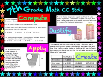 7th Grade Math ~Each standard broken down and assessed in