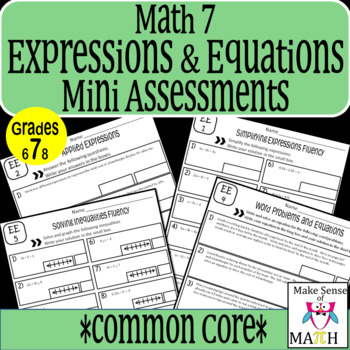7th Grade Math Expressions and Equations Common Core Mini