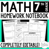 7th Grade Math Homework - A Full Year of Editable Homework