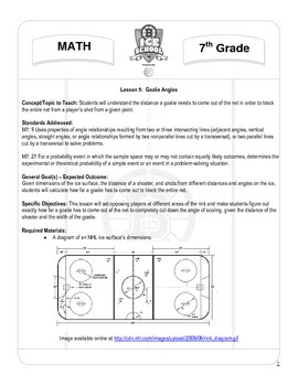 7th Grade Math - Lesson 5 Goalie Angles