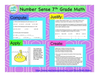 7th Grade Math Number Systems  ~ Compute, Justify, apply, create.