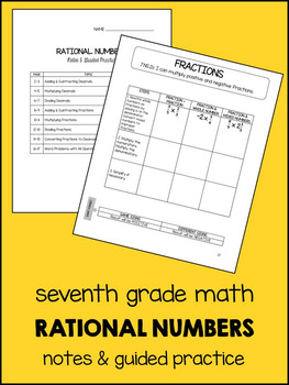 7th Grade Math Rational Numbers - Notes