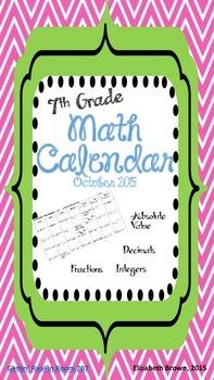 7th Grade Math Review Calendar (October 2015)