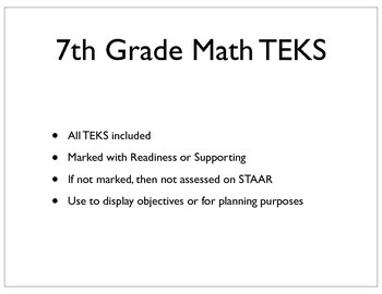 7th Grade Math TEKS Posters - Black and White