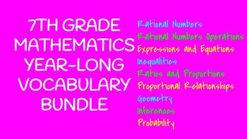 7th Grade Math Vocabulary BUNDLE