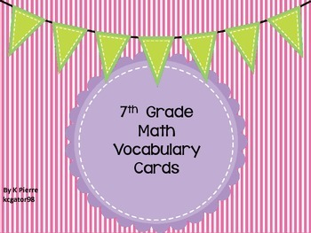 7th Grade Math Vocabulary Cards