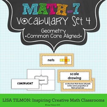 7th Grade Math Vocabulary Word Wall (SET 4: Geometry)
