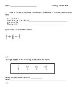 7th Grade Math Weekly Review #16