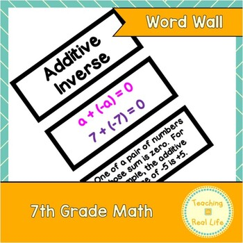 7th Grade Math Word Wall/Vocabulary Cards