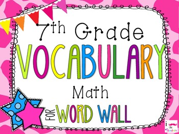 7th Grade Math Word Wall Vocabulary Cards **Neon Giraffe Print**