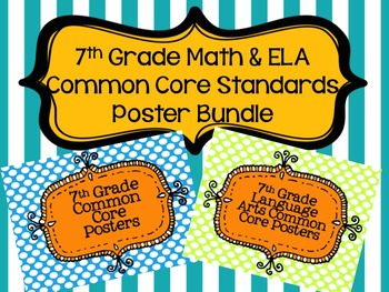7th Grade Math and ELA Common Core Standards Poster Bundle