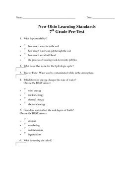 7th Grade Science Pre Test