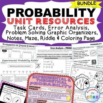 PROBABILITY BUNDLE - Task Cards, Error Analysis, Word Prob