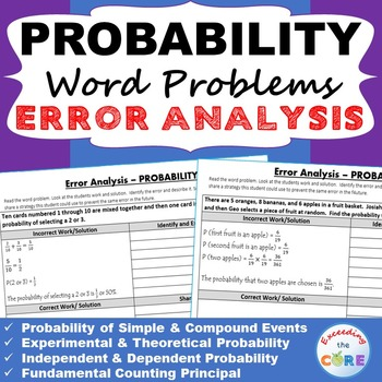 PROBABILITY Word Problems -  Error Analysis  (Find the Err
