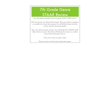7th Grade Reading STAAR Genre Review Questions / Answers