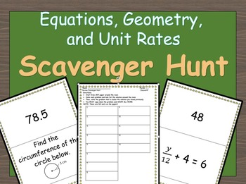 7th Grade Review on Equations, Geometry and Unit Rates Sca