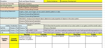 7th Grade Science Lesson Plan Template with NGSS, CCSS, an