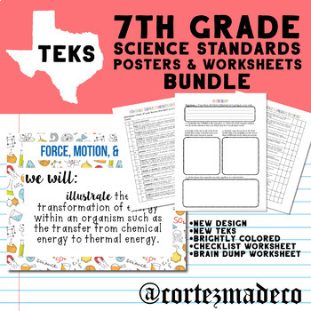 7th Grade Science TEKS I WILL Posters