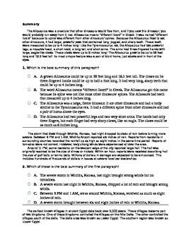 7th Grade Summary Common Core Question Set