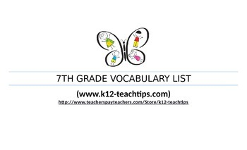 7th Grade Vocabulary (>350 words) Assessment Chart for Tea