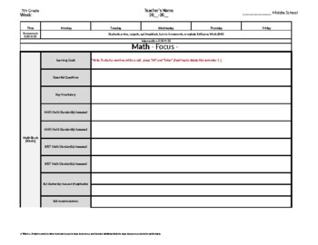 7th Grade Weekly Lesson Plan Template w/ Florida Standards