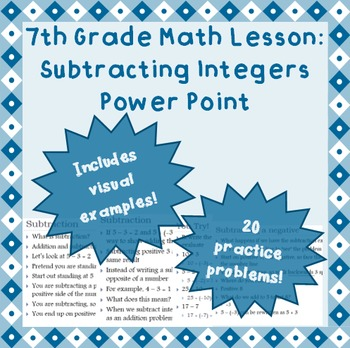 7th grade Power Point Lesson: Subtracting Integers