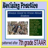 "7th grade Revising Practice , ""Always Good to Know About Snakes"""