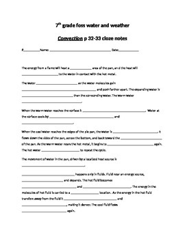 7th grade foss water and weather convection reading cloze notes