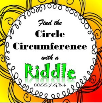 Finding Circumference of a Circle RIDDLE Puzzle Activity I