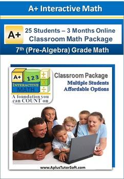 7th/8th Grade Math (Pre-Algebra) - Classroom Package (25 S