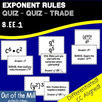 8.EE.1 Exponent Rules Quiz-Quiz-Trade Cards