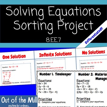8.EE.7 Number of Solutions Cooperative Sort