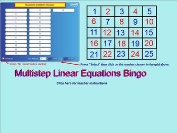 8.EE.C.7.B Multistep Linear Equations Bingo for the Smartboard #1