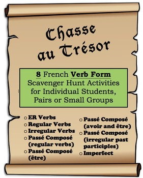 8 French Verb Form Scavenger/Treasure Hunt Activities