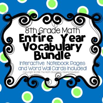 8th Grade Math Vocabulary BUNDLE: Word Wall and Interactiv
