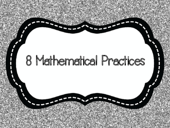 8 Mathematical Practices Black, Aqua and Silver Glitter (C
