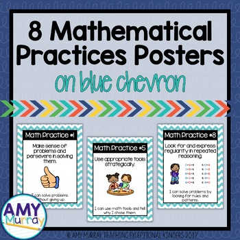 8 Mathematical Practices Posters for Young Learners in blu