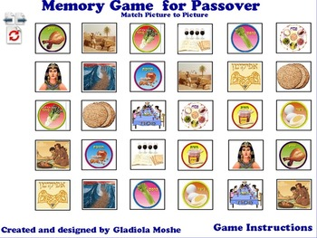 8 Memory Game for Passover photo to photo English