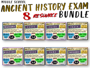 8 Middle School Ancient History Exams BUNDLE 320 Questions