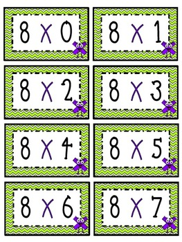 """8"" Times Table Flash Cards"