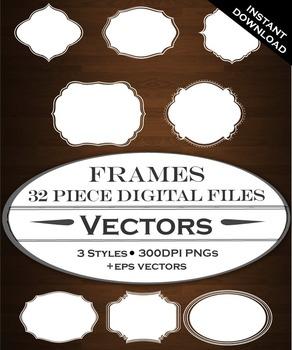 Digital Frames - 8 Vintage Frames Design Elements